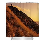 Biking At Sunset Shower Curtain