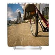 Biking Chicagos Lakefront Shower Curtain
