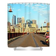 Biking On The Stone Arch Bridge Shower Curtain