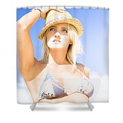 Bikini Lady Against Blue Sky Background Shower Curtain