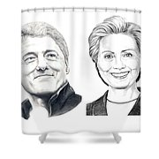 Bill And Hillary Shower Curtain