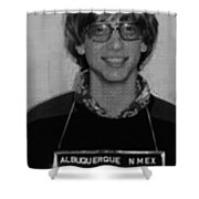 Bill Gates Mug Shot Vertical Black And White Shower Curtain