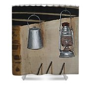 Billy Can And Oil Lamp Shower Curtain