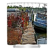 Billys Nets And Sinking Work Boat Shower Curtain