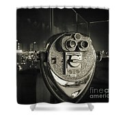 Binocular In New York City, Image In Grunge And Retro Style. Shower Curtain