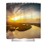Bira River At Sunset. Shower Curtain