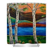 Birch By The Lake Shower Curtain