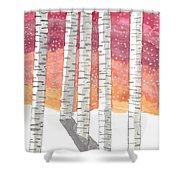 Birch In The Snow Shower Curtain
