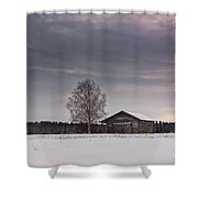 Birch Tree And An Old Barn House Shower Curtain