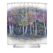 Birch Tree Gathering Shower Curtain