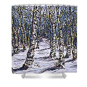 Birch Tree Mosaic 2 Shower Curtain