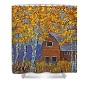 Birch Trees And Barn Shower Curtain