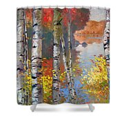 Birch Trees By The Lake Shower Curtain