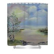Birch Trees Landscape Shower Curtain