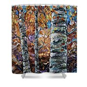 Birch Trees Oil Painting With Palette Knife  Shower Curtain