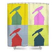 Bird At The Top - Abstract Art Shower Curtain