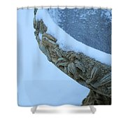 Bird Bath In The Snow Shower Curtain