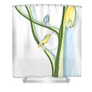 Bird Chatter In The Branches Shower Curtain