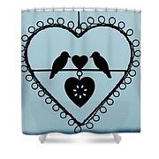 Bird Heart Shower Curtain