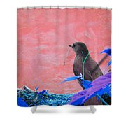 Bird In Abstract Shower Curtain