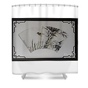 Bird In Bamboo- Fan Painting Shower Curtain