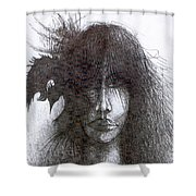 Bird In Hair  Shower Curtain