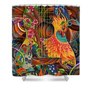 Bird Of Fire Guitar Shower Curtain