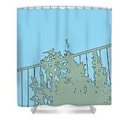 Bird On Fence Aqua II Shower Curtain