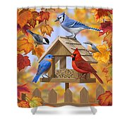 Bird Painting - Autumn Aquaintances Shower Curtain by Crista Forest