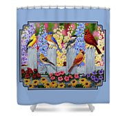 Bird Painting - Spring Garden Party Shower Curtain by Crista Forest