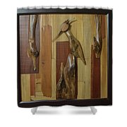 Bird Painting With Wooden Waste Shower Curtain