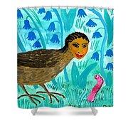 Bird People Blackbird And Worm Shower Curtain