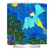 Bird People Green Woodpecker Shower Curtain