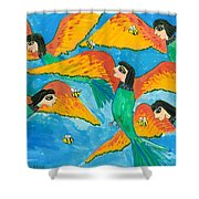 Bird People Little Green Bee Eaters Of Upper Egypt Shower Curtain