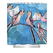 Bird People Long Tailed Tits Shower Curtain