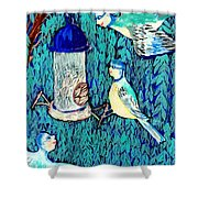 Bird People The Bluetit Family Shower Curtain