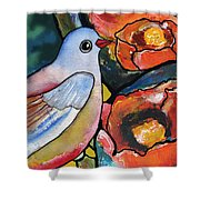 Bird With Prickly Pear Cactus Flowers Shower Curtain