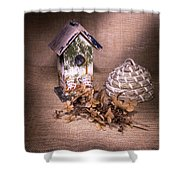 Birdhouse And Beehive 2 Shower Curtain