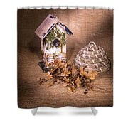 Birdhouse And Behive 1 Shower Curtain