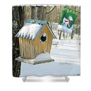 Birdhouse And Deer Flag Shower Curtain