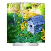 Birdhouse And Flowers Shower Curtain