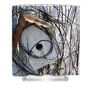 Birdhouse Brambles Shower Curtain