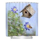 Birdhouse In A Country Garden Shower Curtain