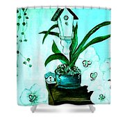 Birdhouse Orchid Garden Shower Curtain