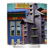Birdhouses For Colorful Birds 2 Shower Curtain