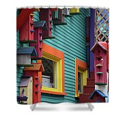 Birdhouses For Colorful Birds 3 Shower Curtain