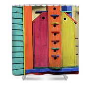 Birdhouses For Colorful Birds 5 Shower Curtain