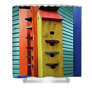 Birdhouses For Colorful Birds 6 Shower Curtain