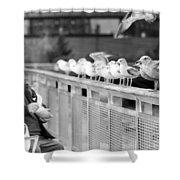 Birdman Of Lower Manhattan Shower Curtain