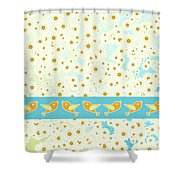 Birds And Daisies Shower Curtain